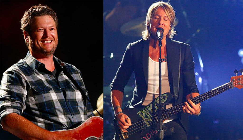 Blake Shelton Keith Urban on stage ACM Awards