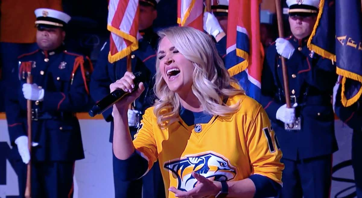Carrie Underwood singing national anthem at predators game