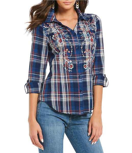 Reba Clothing line embroidered Plaid cuff shirt