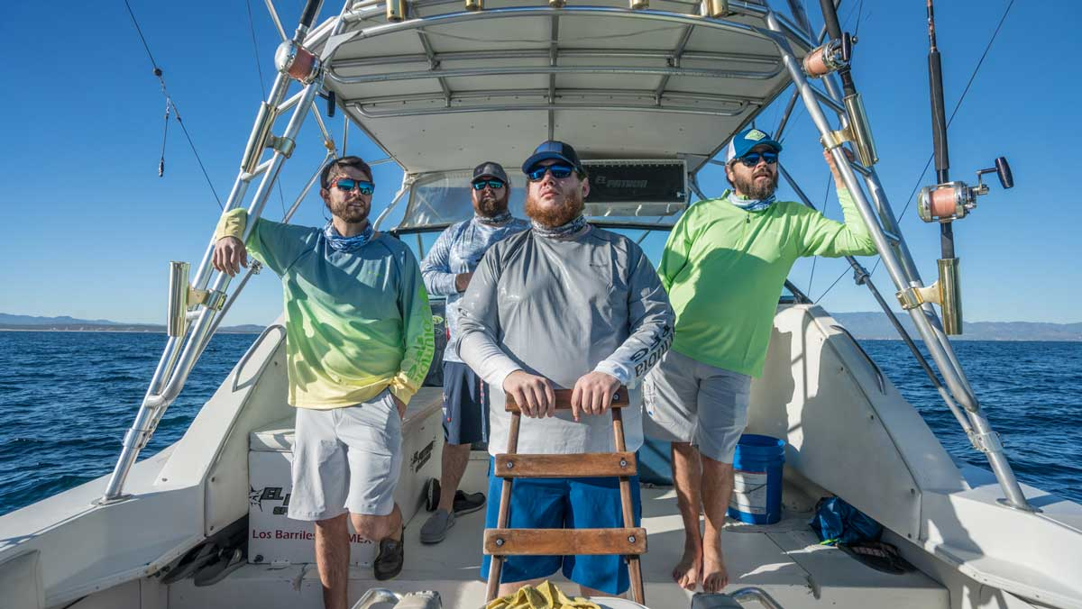 Luke Combs and crew still for sportswear