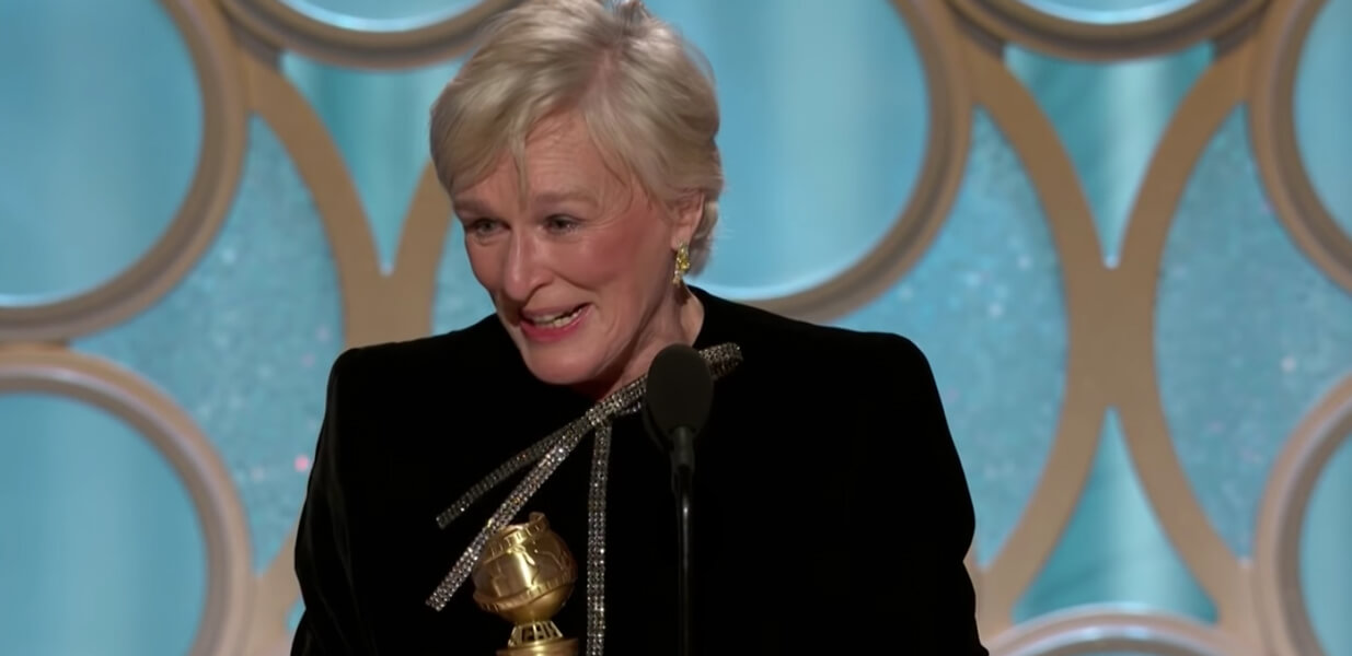 Glenn Close Golden Globes Best Actress Win award