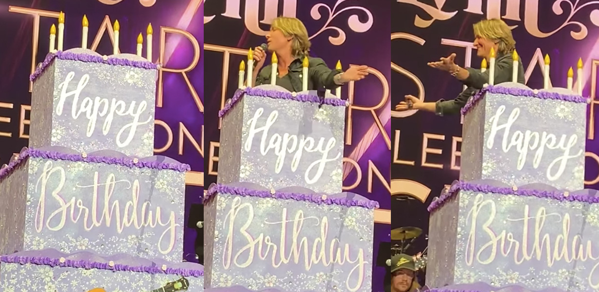 Keith Urban jumps out of cake for Loretta Lynn Birthday