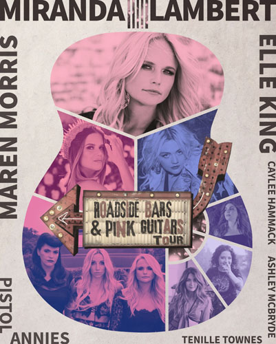 Miranda Lambert Roadside Bars Pink Guitars Tour dates with Maren Morris