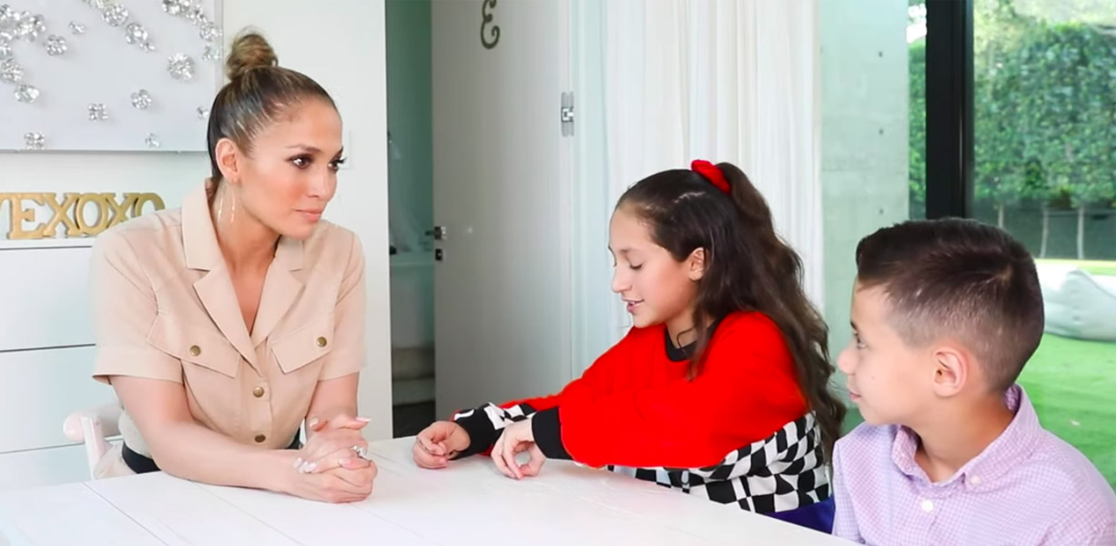Jennifer Lopez gets interviewed by twins Max and Emme