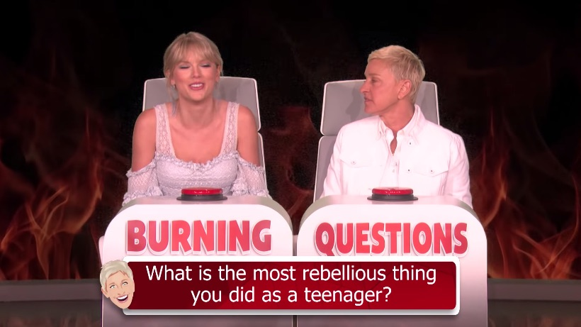 taylor swift ellen burning questions