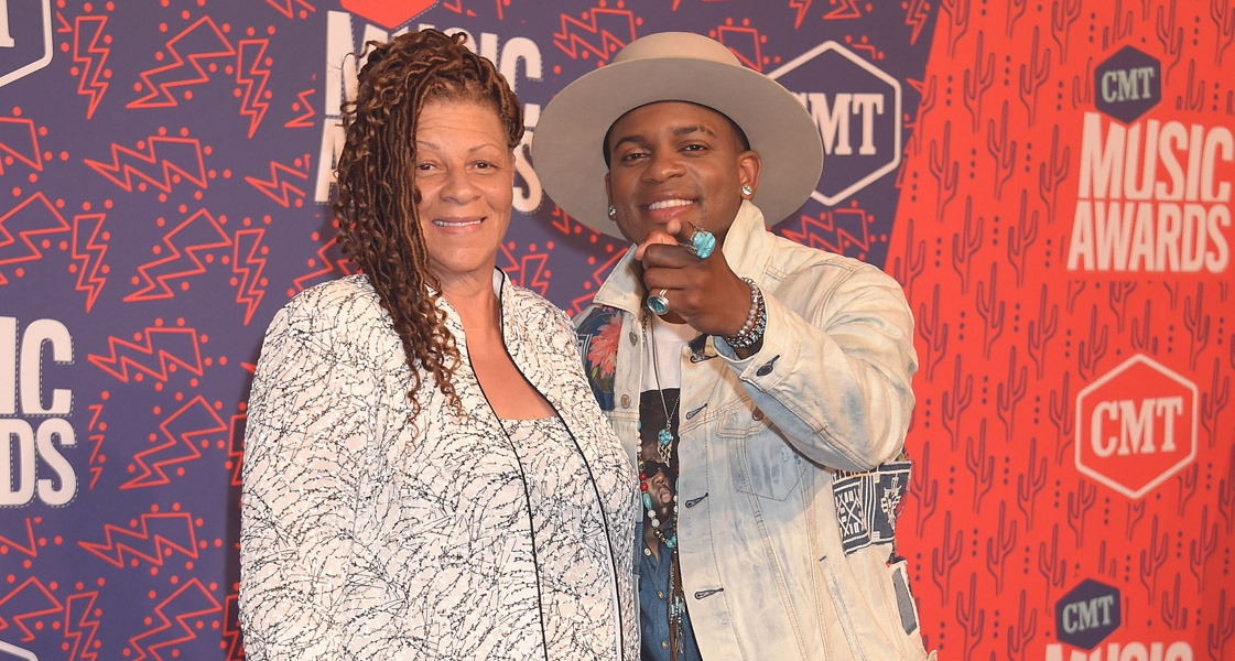 Jimmie Allen and Mom Angela walk the red carpet at CMT Music Awards