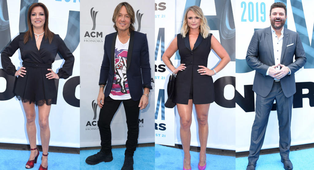 ACM Honors blue carpet fashions Keith Urbana and Miranda Lambert