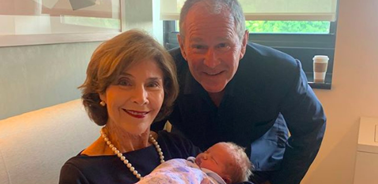 George W Bush and Laura Bush welcome grandson Henry Hal Hager